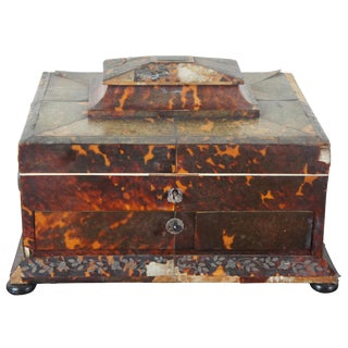 Antique French European Tortoise Silver Inlaid Ladys Jewelry Chest For Sale