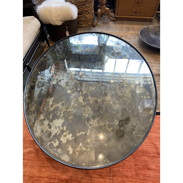 Early 20th Century Hollywood Regency Black Coffee Table With an Antique Mirror Top For Sale - Image 5 of 9