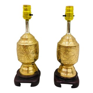 Pair Vintage Etched Brass Lamps For Sale