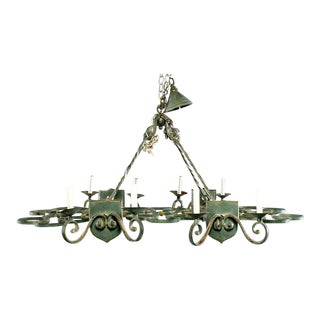 French Rectangular Green Metal Eight Light Chandelier For Sale