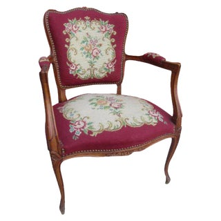 French Antique Needlepoint Chair For Sale