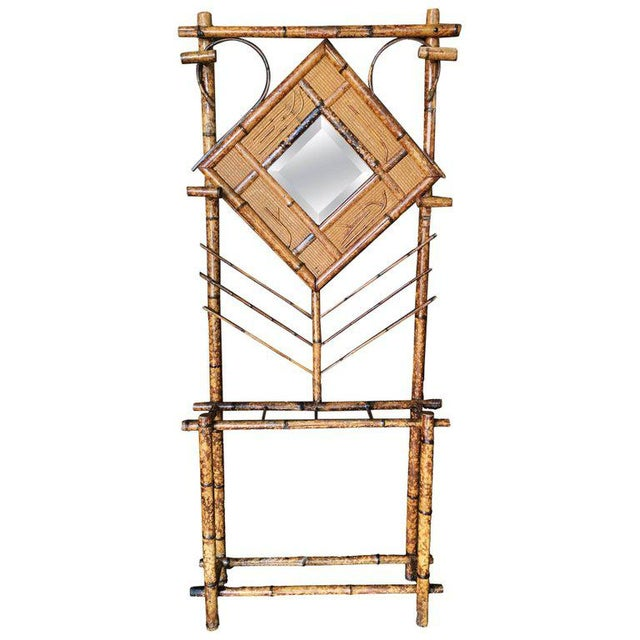 Restored Tiger Bamboo Coat Rack Hall Tree With Mirror, Aesthetic Movement For Sale - Image 4 of 4
