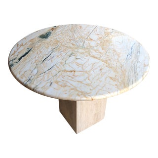 Vintage Marble Pedestal Side Table For Sale