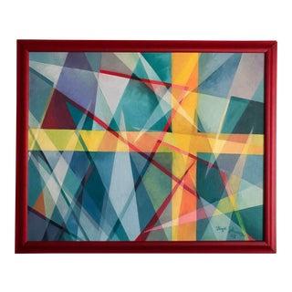Original Lloyd Johnson Cubist Painting of Swedish Flag For Sale
