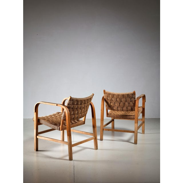 Campaign Magnus Stephensen Pair of Bent Beech and Seagrass Armchairs, Denmark, 1930s For Sale - Image 3 of 4
