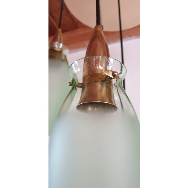 Italian Mid-Century Modern Brass & Glass Flush Mount, Arredoluce For Sale - Image 9 of 13