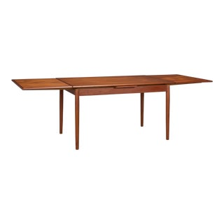 1960s Danish Modern Teak Dining Table With Two Pull-Out Leaves For Sale