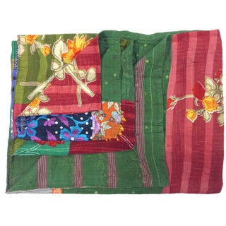 Green Paisley Vintage Kantha Quilt For Sale