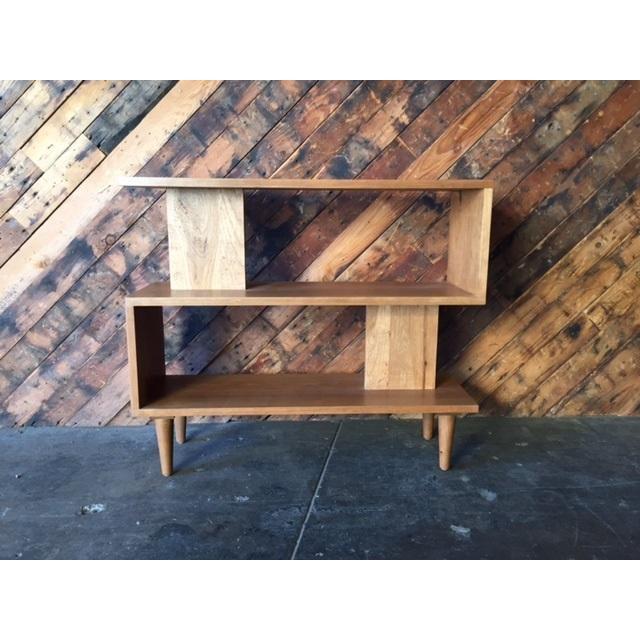 Mid century style custom cherry wood zig zag shelf chairish - Etagere zig zag ...