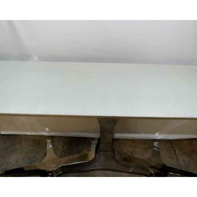 Chrome tree design base console table cover with white shagreen. white top and with crome silver legs.