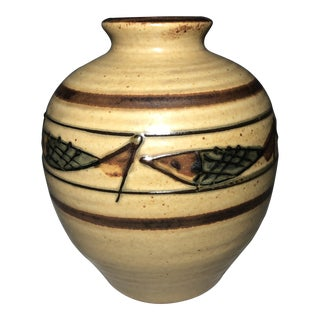 Mid Century Japanese Fish Pottery Vase For Sale