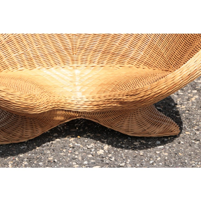 Wicker Low Lounge Chairs - a Pair For Sale - Image 10 of 13