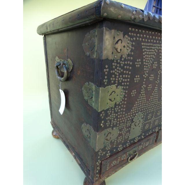 Moorish Teak & Brass Studded Trunk For Sale - Image 4 of 9