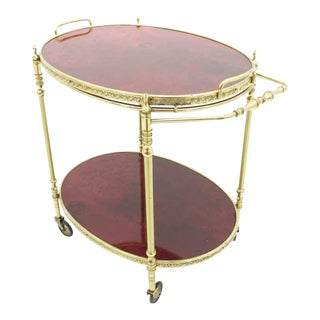 Aldo Tura Bar Cart in Red Goatskin and Brass, Italy, 1960s For Sale