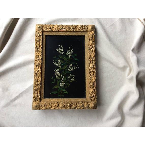 Gesso Antique Oil Botanical Painting of Flowering Jasmine For Sale - Image 7 of 7