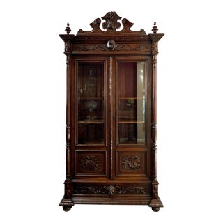 19th Century Antique French Carved Oak Bookcase For Sale