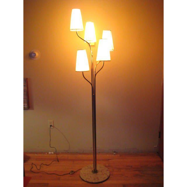 A Five Arm Tree Form Brass Floorlamp For Sale In Tampa - Image 6 of 6
