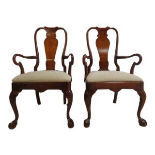 Henredon Cherry Ball & Claw Chippendale Dining Chairs - A Pair For Sale