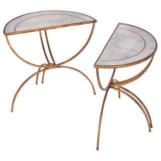 Maison Baguès Demi-Lune Sidetables With Mirrored Glass Tops For Sale