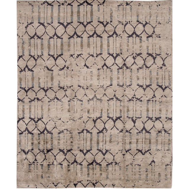 "Apadana - 21st Century Contemporary Indian Rug, 8' x 9'9"" For Sale"