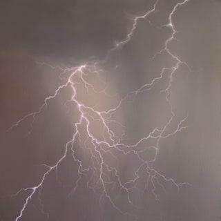 """Strike 5"" Realistic Lightning Painting by Rachel Walter For Sale"