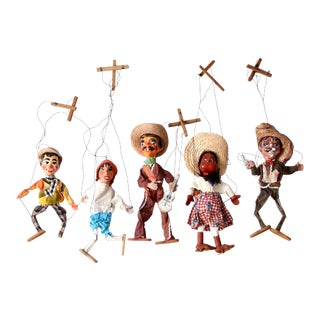 Mid-Century Mexican Marionettes - Set of 5 For Sale