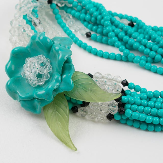 Angela Caputi Turquoise and Black Resin Necklace with Oversized Flower For Sale - Image 10 of 13