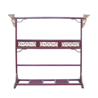 Chinese Red Gold Dragon Head Dress Rack For Sale