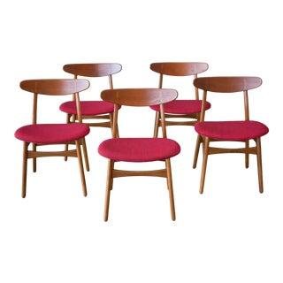 1950s Hans Wegner Ch30 Teak Chairs - Set of 5 For Sale