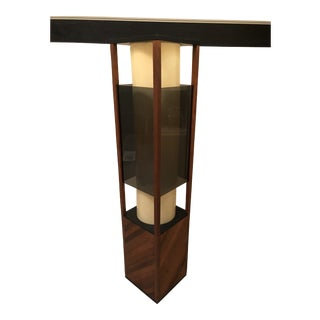 1960s Mid Century Rectangular Wood and Smoked Acrylic Lamp For Sale