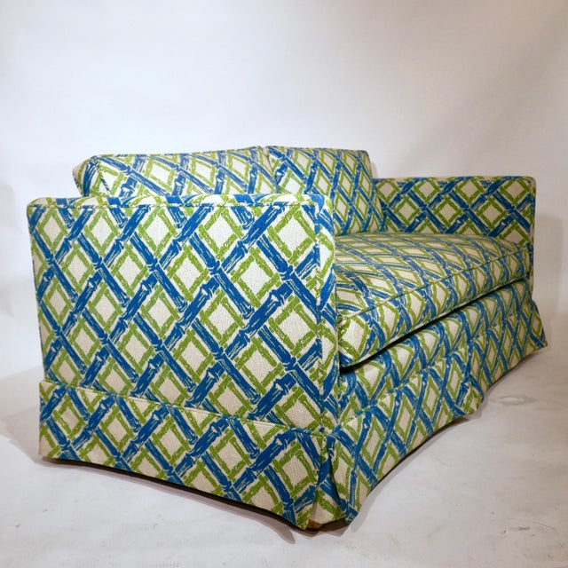Pair of Regency Chinoiserie Tuxedo Settees in Lattice Bamboo Upholstery For Sale - Image 11 of 13