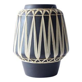 1950s Gmundner Keramik Austrian Black Raffia Wrapped Wide Mouth Vase For Sale