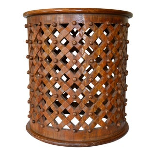 Tribal African Cameroon Hand-Carved Brown Bamileke Drum Stool or Side Table For Sale