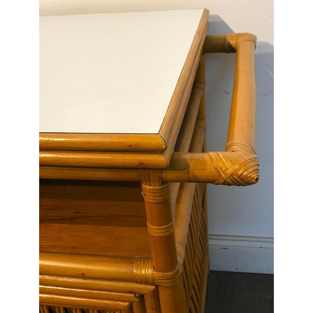 Midcentury Rattan Expandable Bar Cart For Sale - Image 9 of 13