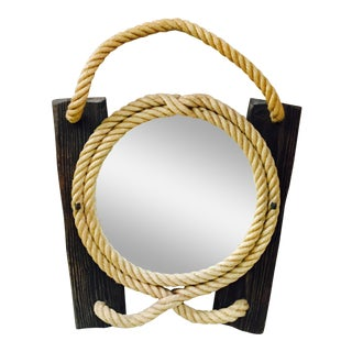 1960s Audoux Minet Rope and Wood Mirror For Sale