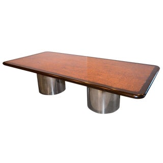 Monumental Burl, Black and Chrome Dining or Conference Table For Sale