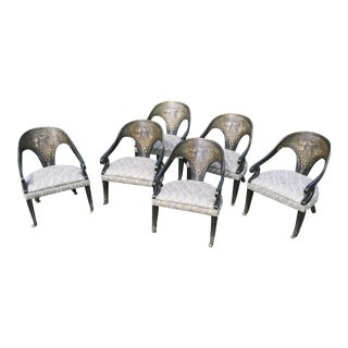 Painted Japanese Motif Dining Chairs - Set of 6