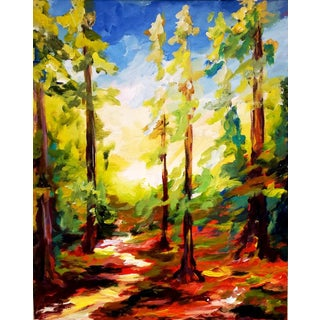 Contemporary Forest Landscape Mixed-Media Painting For Sale