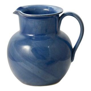 Italian Denim Blue Pottery Pitcher For Sale