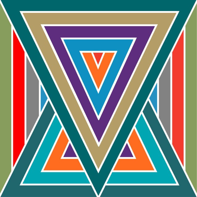 This is a continuation of my geometric multi-striped series. With a 'triangle' center on the canvas, it tricks the eye...