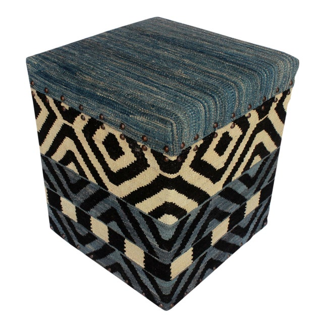 Delora Black/Ivory Kilim Upholstered Handmade Storage Ottoman For Sale