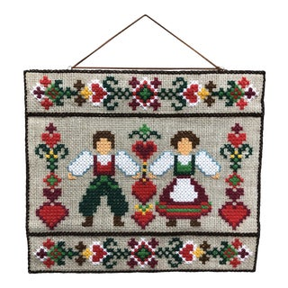 Vintage Embroidered Scandinavian / Swedish Folk Art Wall Hanging /Tapestry For Sale