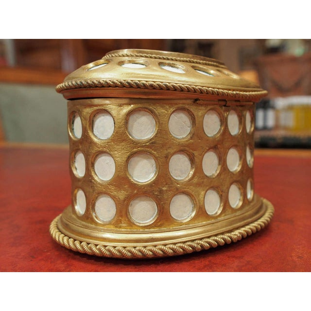"""Gold Charles X Gilt and Mosaic Jewelry Box, Signed """"Tahan, Paris"""" For Sale - Image 8 of 9"""