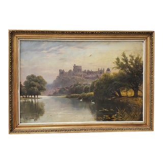 "19th Century ""Windsor Castle"" Original Oil Painting by F. Beale For Sale"