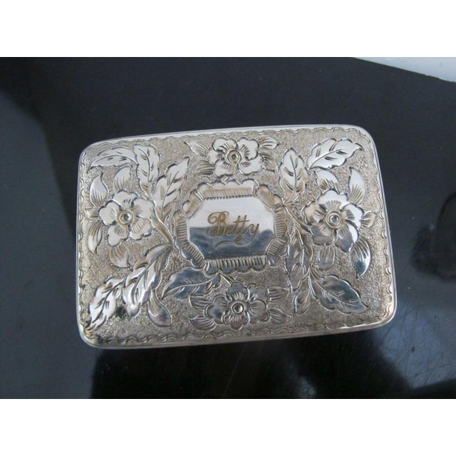 Antique Wood Vanity Jewelry Box Glass with Sterling Silver Jars & Key Betty Mono For Sale - Image 10 of 12