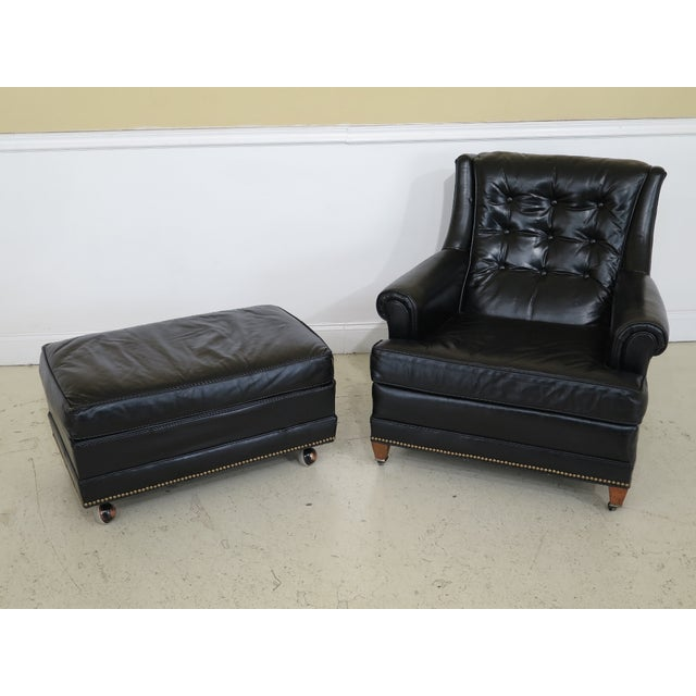 Item: SHERRILL Black Leather Club Chair & Ottoman Age: Approx: 40 Years Old Details: High Quality Construction 18 C....