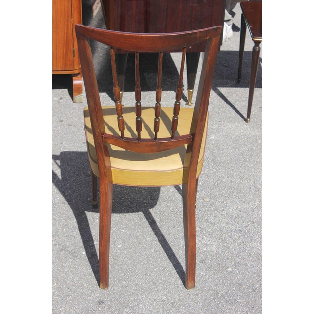 Set of Six French Art Deco Solid Mahogany Dining Chairs, circa 1940s - Image 6 of 9