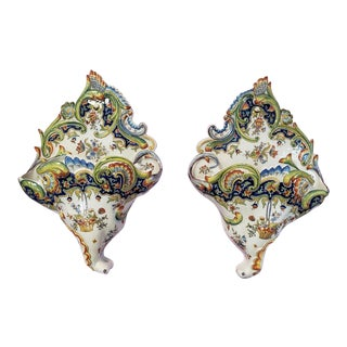 Mid 19th Century French Rouen Faience Porcelain Floral Motif Wall Pocket Vases - a Pair For Sale