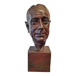 Early 20c Kunst Bronze Bust of Distinguished Gent