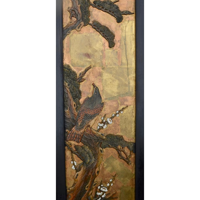 Chinese Lacquered Carved Wood Panel Pair For Sale - Image 4 of 7